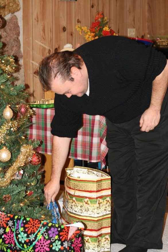 Our president Danial choosing a gift from under the tree