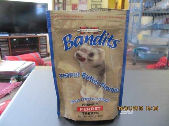 partially used bag of treats(hard as a rock) surrendered with ferret